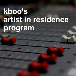 "Close up of red and white potentiometers on a soundboard with overlaying text that reads ""kboo's artist in residence program"""