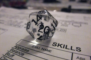 20 sided die on skill sheet
