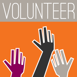image of stylized hands raised with word VOLUNTEER across the top