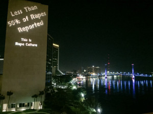 guerilla art; projections, public art; rape culture
