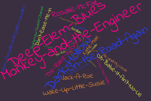 A word cloud of song titles that The Grateful Dead covered acoustically.