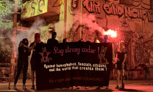 a solidarity banner in support of Cedar and the Hamilton Pride Defenders from Berlin, Germany