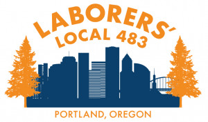 SEIU local 483 logo with skyline and trees