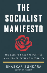 cover of Socialist Manifesto with red rose, white lettering